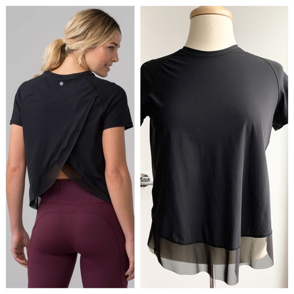 Lululemon Quick Pace black short sleeve top